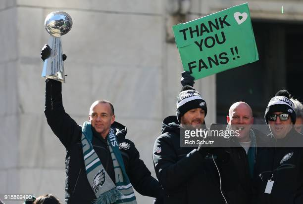Punter Donnie Jones of the Philadelphia Eagles holds the Vince Lombardi trophy during their Super Bowl Victory Parade on February 8 2018 in...