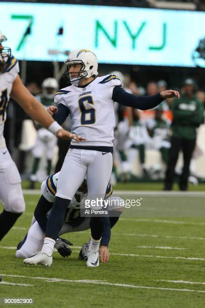 Punter Drew Kaser of the Los Angeles Chargers in action against the New York Jets in an NFL game at MetLife Stadium on December 24 2017 in East...