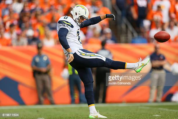 Punter Drew Kaser of the San Diego Chargers at Sports Authority Field at Mile High on October 30 2016 in Denver Colorado