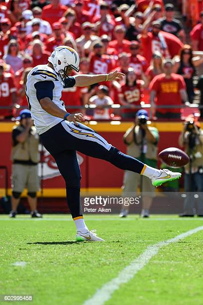 Punter Drew Kaser of the San Diego Chargers makes a very short punt in the fourth quarter against the Kansas City Chiefs that gave them great field...