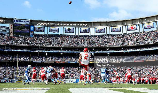 Punter Dustin Colquitt of the Kansas City Chiefs kicks out of the end zone against the San Diego Chargers at Qualcomm Stadium on October 19 2014 in...