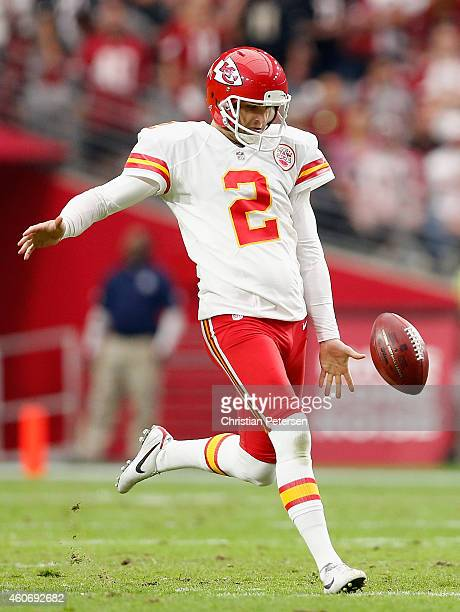 Punter Dustin Colquitt of the Kansas City Chiefs kicks the football during the NFL game against the Arizona Cardinals at the University of Phoenix...