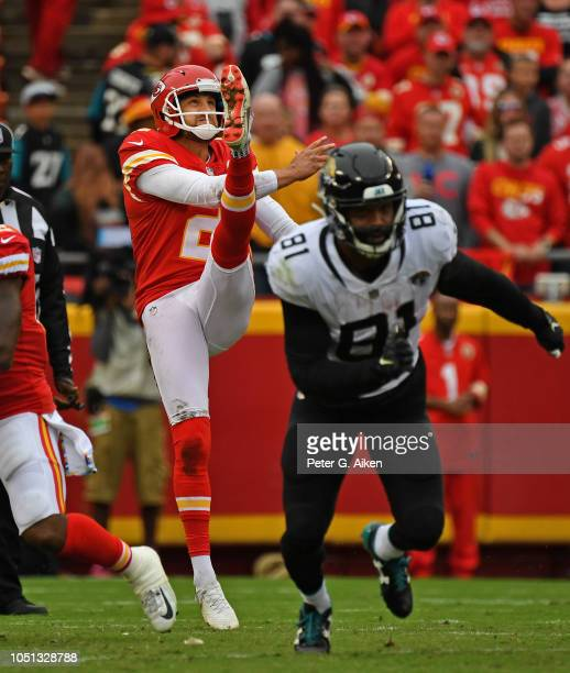 Punter Dustin Colquitt of the Kansas City Chiefs punts the ball down field against the Jacksonville Jaguars during the second half on October 7 2018...
