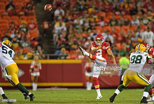 Punter Dustin Colquitt of the Kansas City Chiefs punts the ball down field against the Green Bay Packers during the second half on September 1 2016...