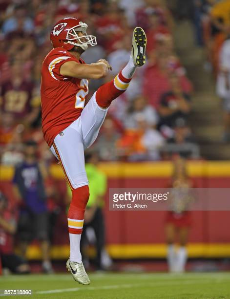 Punter Dustin Colquitt of the Kansas City Chiefs punts the ball down field against the Washington Redskins during the first half on October 2 2017 at...
