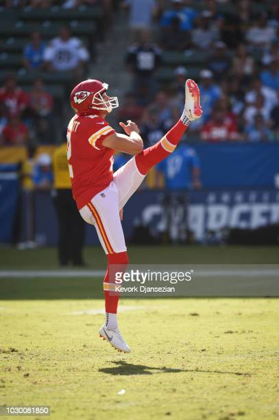 Punter Dustin Colquitt of the Kansas City Chiefs punts the ball in the game against the Los Angeles Chargers at StubHub Center on September 9 2018 in...