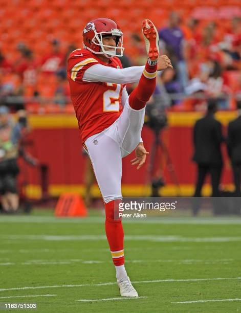Punter Dustin Colquitt of the Kansas City Chiefs punts the ball during pregame warm ups prior to a preseason game against the San Francisco 49ers at...