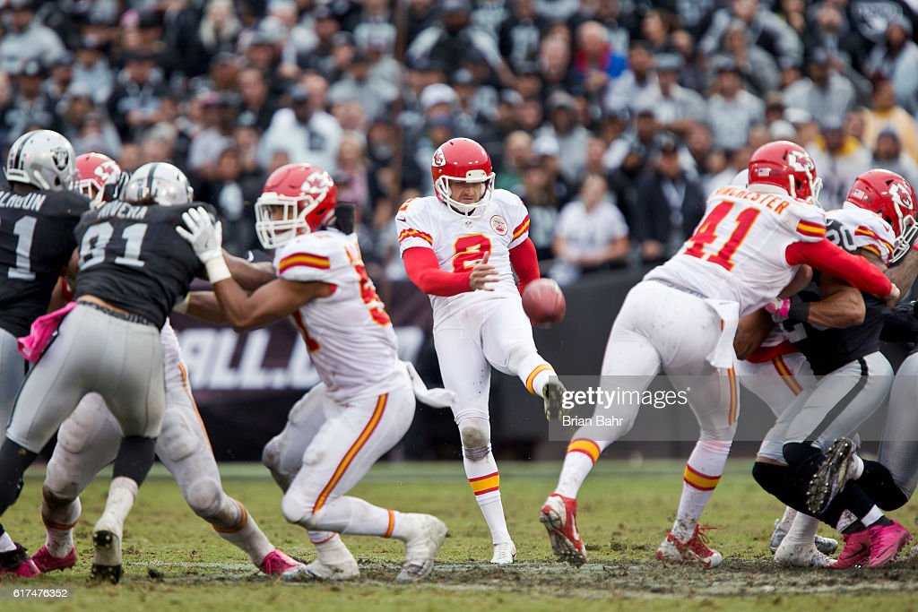 Punter Dustin Colquitt #2 the Kansas City Chiefs sends a 36-yard punt to the Oakland eight yard line in the third quarter on October 16, 2016 at Oakland-Alameda County Coliseum in Oakland, California. The Chiefs won 26-10.