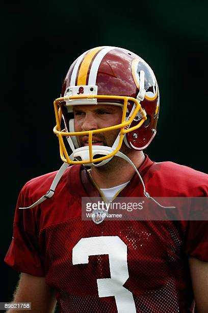 Punter Hunter Smith of the Washington Redskins practices during drills on opening day of training camp July 30 2009 in Ashburn Virginia
