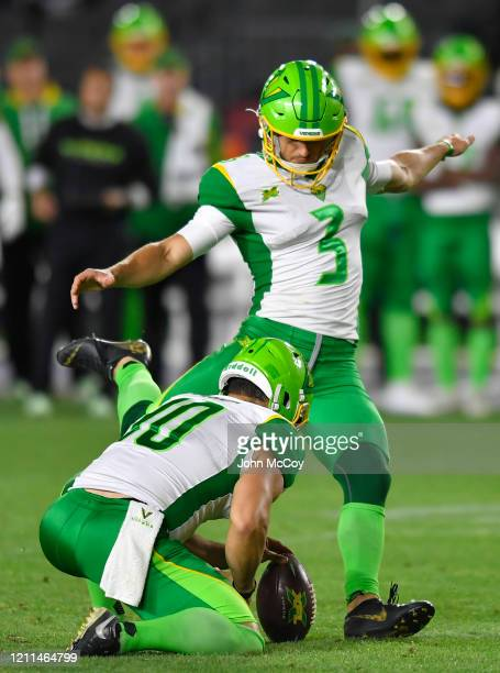 punter Jake Schum holds for kicker Andrew Franks of the Tampa Bay Vipers while playing the LA Wildcats at Dignity Health Sports Park during an XFL...