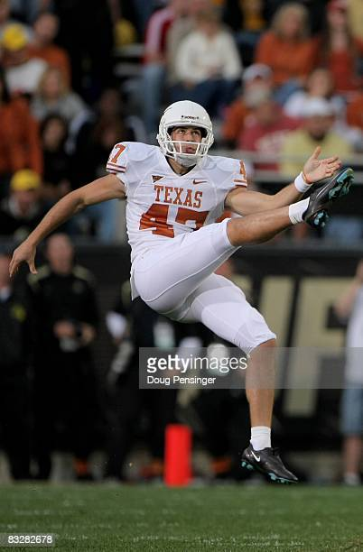 Punter John Gold of the Texas Longhorns punts to the Colorado Buffaloes at Folsom Field on October 4 2008 in Boulder Colorado Texas defeated Colorado...