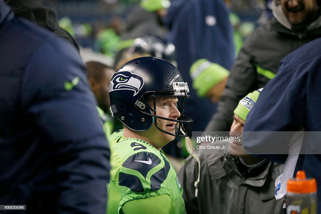 Punter Jon Ryan #9 of the Seattle Seahawks on the sidelines after a play against the Los Angeles Rams at CenturyLink Field on December 15, 2016 in Seattle, Washington.