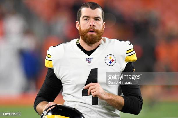 Punter Jordan Berry of the Pittsburgh Steelers on the field prior to a game against the Cleveland Browns on November 14 2019 at FirstEnergy Stadium...