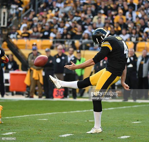 Punter Jordan Berry of the Pittsburgh Steelers punts during a game against the New England Patriots at Heinz Field on October 23 2016 in Pittsburgh...