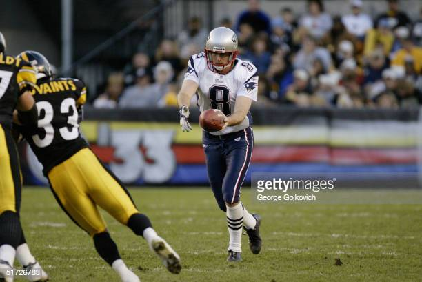 Punter Josh Miller of the New England Patriots in action against the Pittsburgh Steelers at Heinz Field on October 31 2004 in Pittsburgh Pennsylvania...