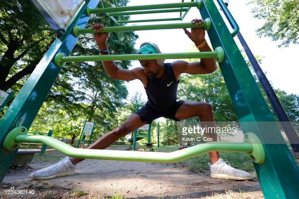 Punter Kaare Vedvik of Norway, a reserve/future free agent for the Buffalo Bills, stretches after a workout at Central Park on May 10, 2020 in...