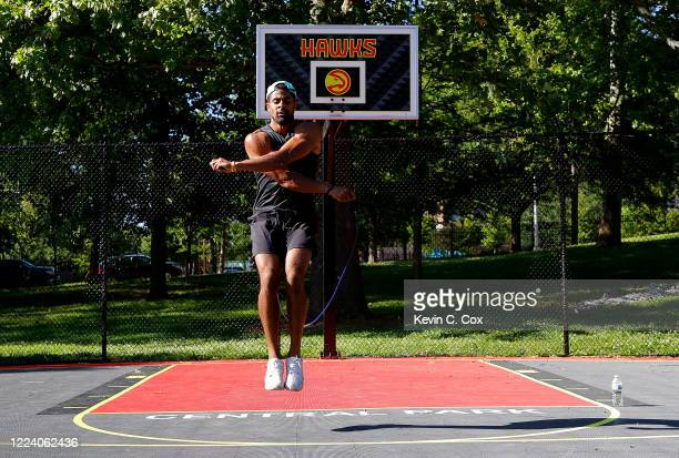 Punter Kaare Vedvik of Norway, a reserve/future free agent for the Buffalo Bills, works out at Central Park on May 10, 2020 in Atlanta, Georgia....
