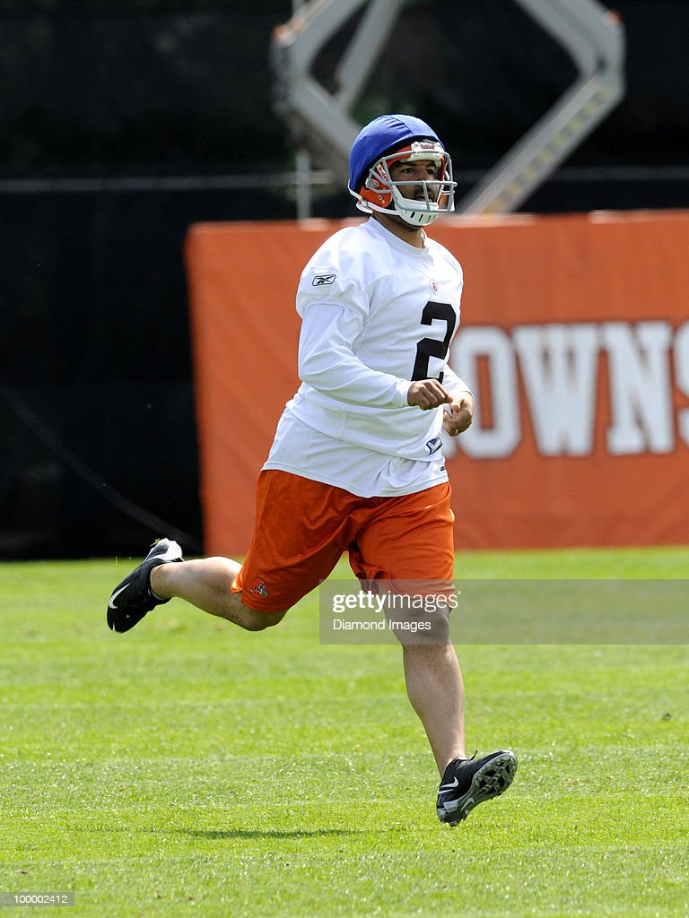 Punter Reggie Hodges #2 of the Cleveland Browns runs sprints during the team's organized team activity (OTA) on May 19, 2010 at the Cleveland Browns practice facility in Berea, Ohio.