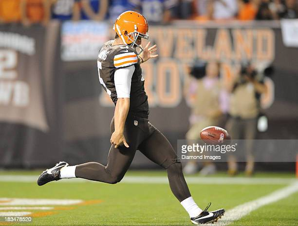 Punter Spencer Lanning of the Cleveland Browns punts the football during a game against the Buffalo Bills at FirstEnergy Stadium in Cleveland Ohio...