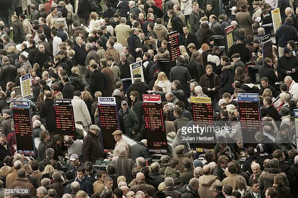 Punters and Bookmakers on the Boxing Day meet at Kempton Racecourse on December 26 2006 in Kempton England