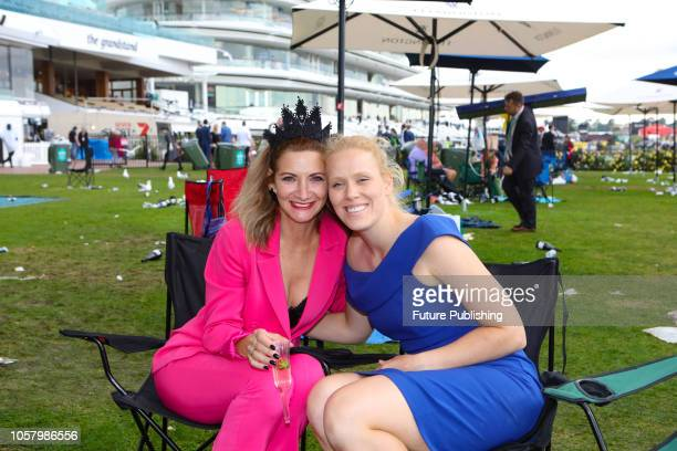 Punters at the end of the day during the Lexus Melbourne Cup Day at the 2018 Melbourne Cup Carnival