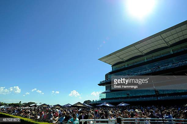 Punters enjoy the atmosphere during Spring Stakes Day at Royal Randwick Racecourse on October 11 2014 in Sydney Australia
