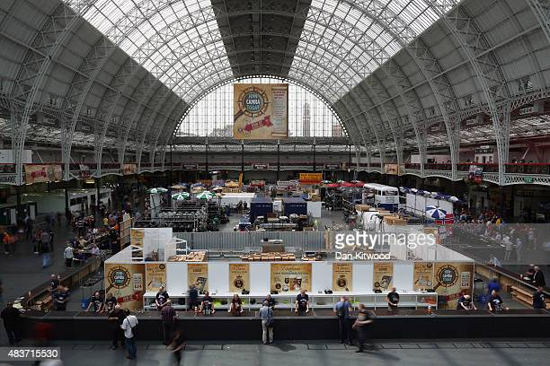 Punters enjoy the CAMRA Great British Beer festival at Olympia London exhibition centre on August 12, 2015 in London, England. The five day event is...