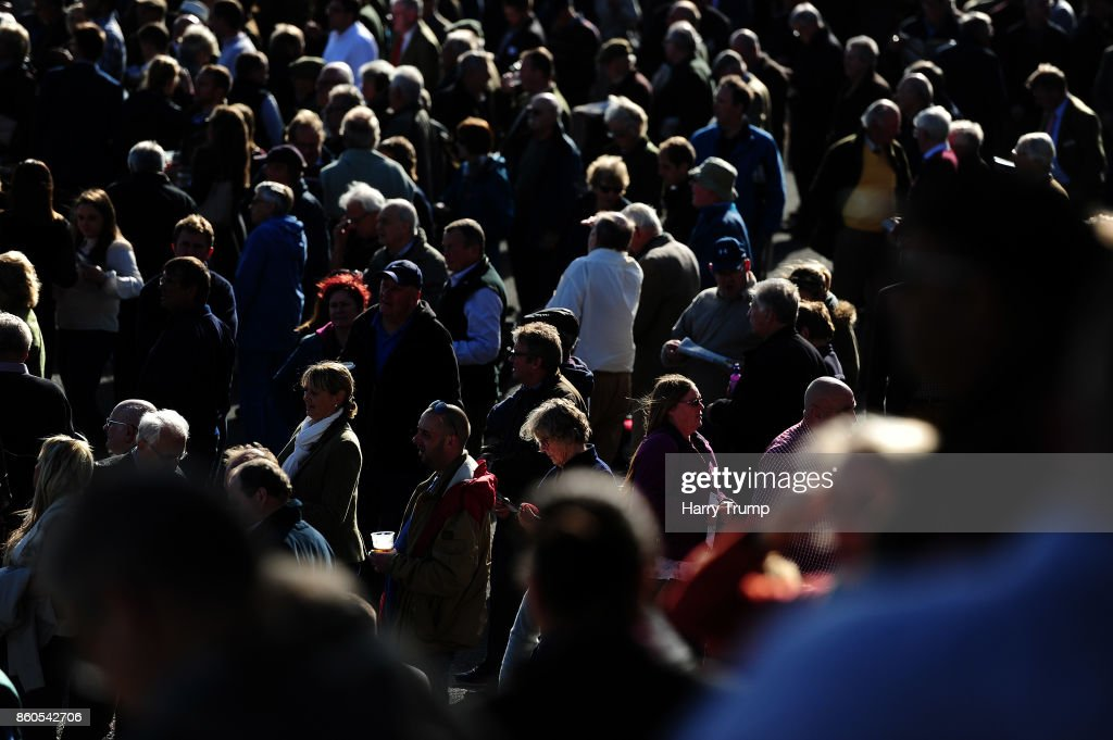 Punters look on at Exeter Racecourse on October 12, 2017 in Exeter, England.
