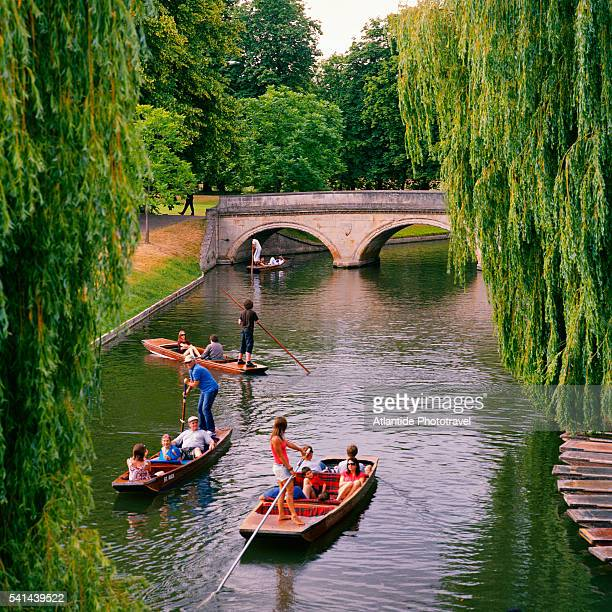 Punting on Cam river near Clare College