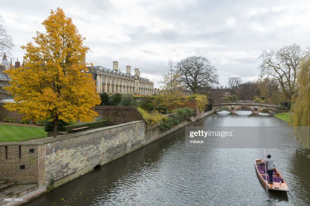 punting on the river Cam in Cambridge England : Stock Photo