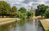Punts on river Cam in Cambridge