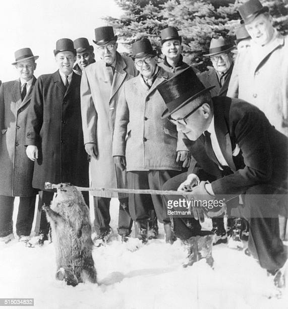 The famous old seer of Gobbler's Knob makes this onceayear weather prognostication for members of the Punxsutawney Groundhog Club 2/2 And the...