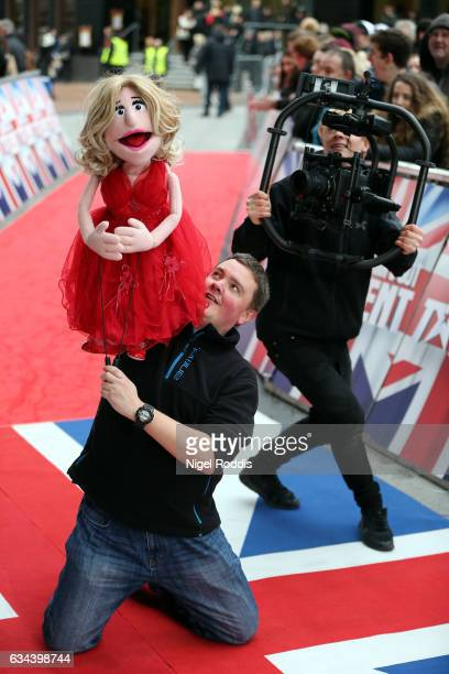 A pupet of Judge Amanda Holden arrives for the Britain's Got Talent Manchester auditions on February 9 2017 in Manchester United Kingdom