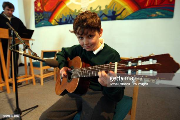 Pupil Evan Pocock aged 9 from Bucklebury Church of England Primary School helps record a song for the wedding of Prince William and Kate Middleton in...