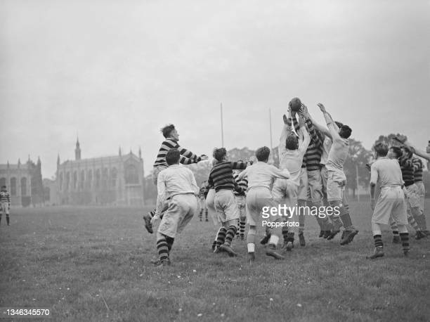 Pupils and students take part in a game of rugby on playing fields at Cheltenham College, a public boarding school in Cheltenham, Gloucestershire,...