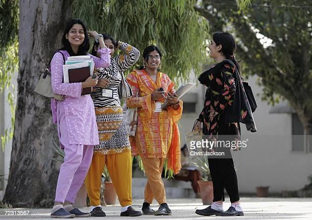 Pupils are seen at Fatima Jinnah Womens University on the third day of the Royal Tour of Pakistan on October 31 2006 in Islamabad Pakistan Prince...