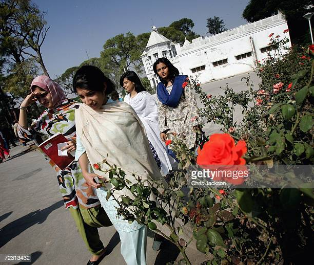 Pupils arrive at Fatima Jinnah college on the third day of the Royal Tour of Pakistan on October 31 2006 in Islamabad Pakistan Prince Charles and the...