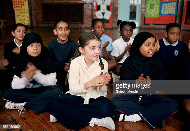 Pupils at Millfields Community School participate enthusiastically in an African music workshop held as part of the school's in involvement in 'Black...