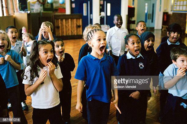 Pupils at Millfields Community School participate enthusiastically in an African dance and music workshop held as part of the school's in involvement...