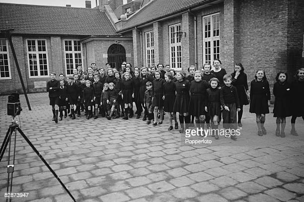 Pupils at the Ypres Memorial School a British institution in Ypres Belgium March 1940