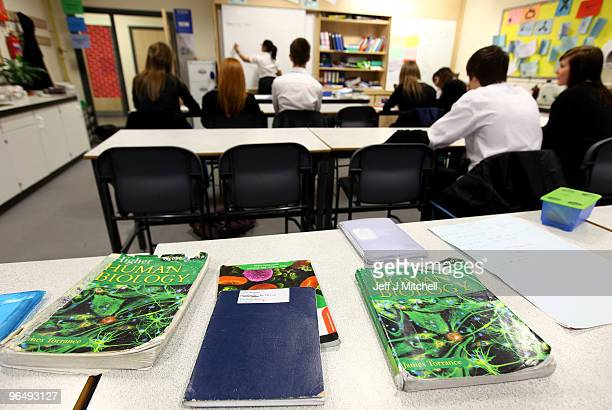 Pupils at Williamwood High School attend a biology class on February 5 2010 in Glasgow Scotland As the UK gears up for one of the most hotly...