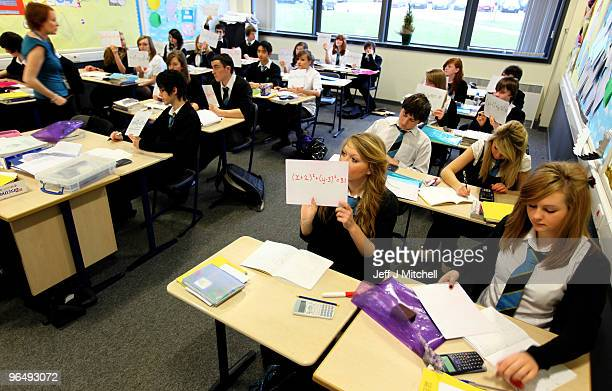 Pupils at Williamwood High School attend a math class on February 5 2010 in Glasgow Scotland As the UK gears up for one of the most hotly contested...