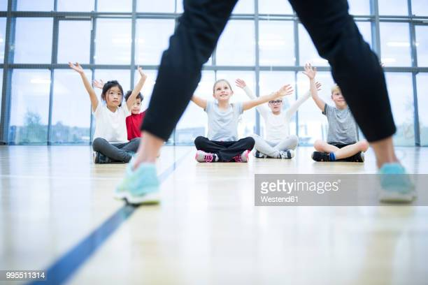 Pupils exercising in gym class