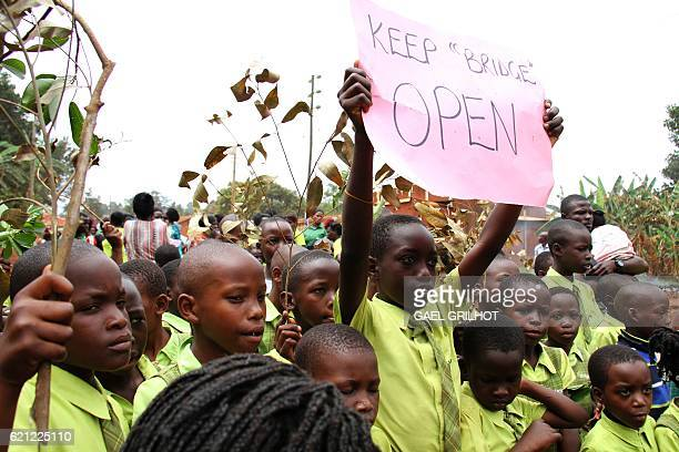 Pupils from Bridge International Academies demonstrate after Uganda's High Court ordered the closure of a chain of lowcost private schools backed by...