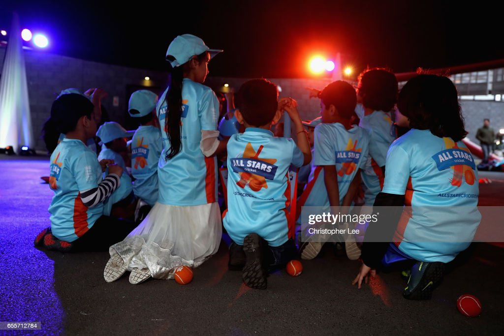 Pupils from Elmhurst Primary School play the All Stars cricket during the ECB All Stars Cricket Event at the ArcelorMittal Orbit at Queen Elizabeth Olympic Park on March 20, 2017 in London, England.