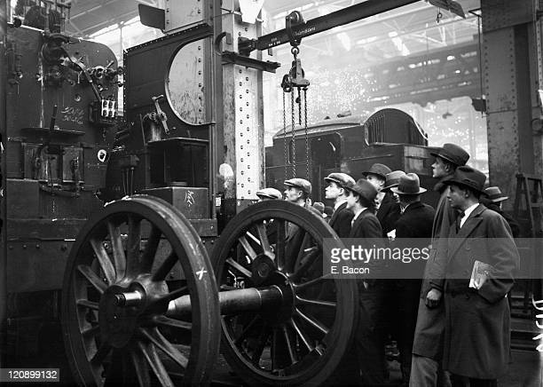 Pupils from Eton College on a visit to the GWR works at Swindon Wiltshire 24th February 1927