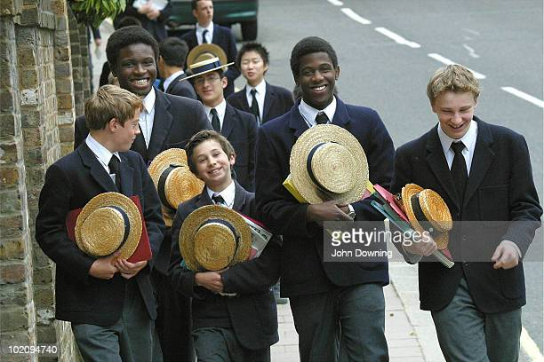 Pupils from Harrow School in north-west London, 25th April 2003. Harrow is one of the best known British public schools, privately educating some 800...