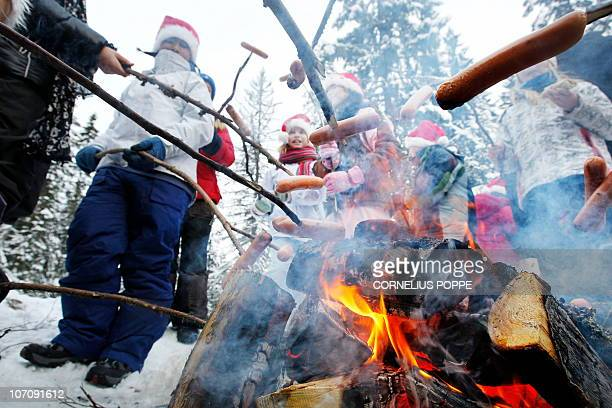 Pupils from the International School in Oslo and the Maridalen school roast hotdogs on a fire while Oslo Mayor Fabian Stang and the Lord Mayor of...
