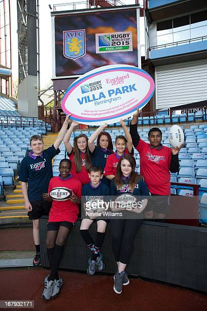 Pupils from the North Birmingham Academy pose during the IRB Rugby World Cup 2015 Schedule Announcement at Villa Park on May 02 2013 in Birmingham...