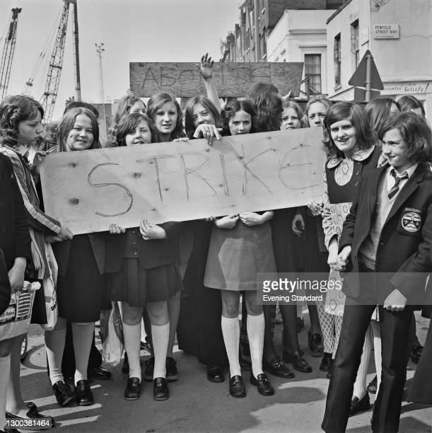 Pupils from the Sarah Siddons Comprehensive School in London, protesting in Marylebone during a strike by schoolchildren organised by the Schools...